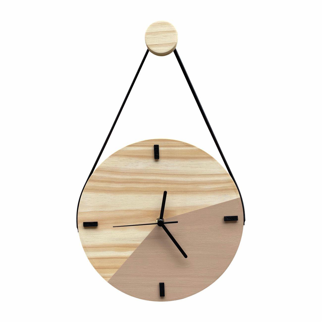 Relógio de Parede Escandinavo Duo Avelã com Alça + Pendurador