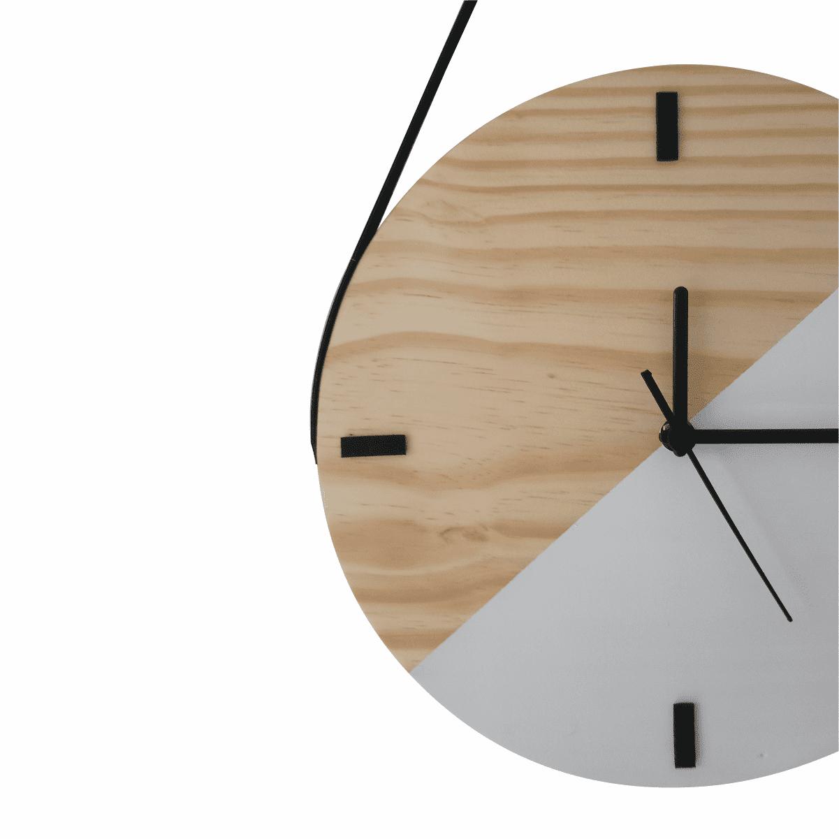 Relógio de Parede Escandinavo Duo Branco com Alça 28cm