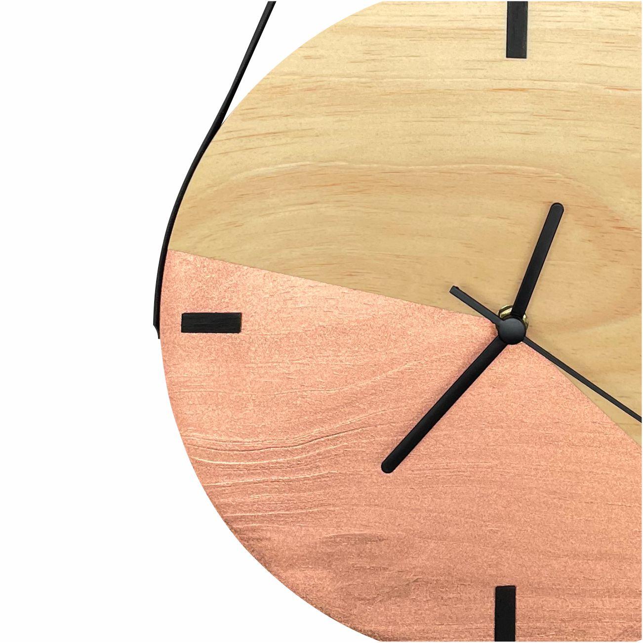 Relógio de Parede Escandinavo Duo Cobre com Alça + Cabide Pendurador