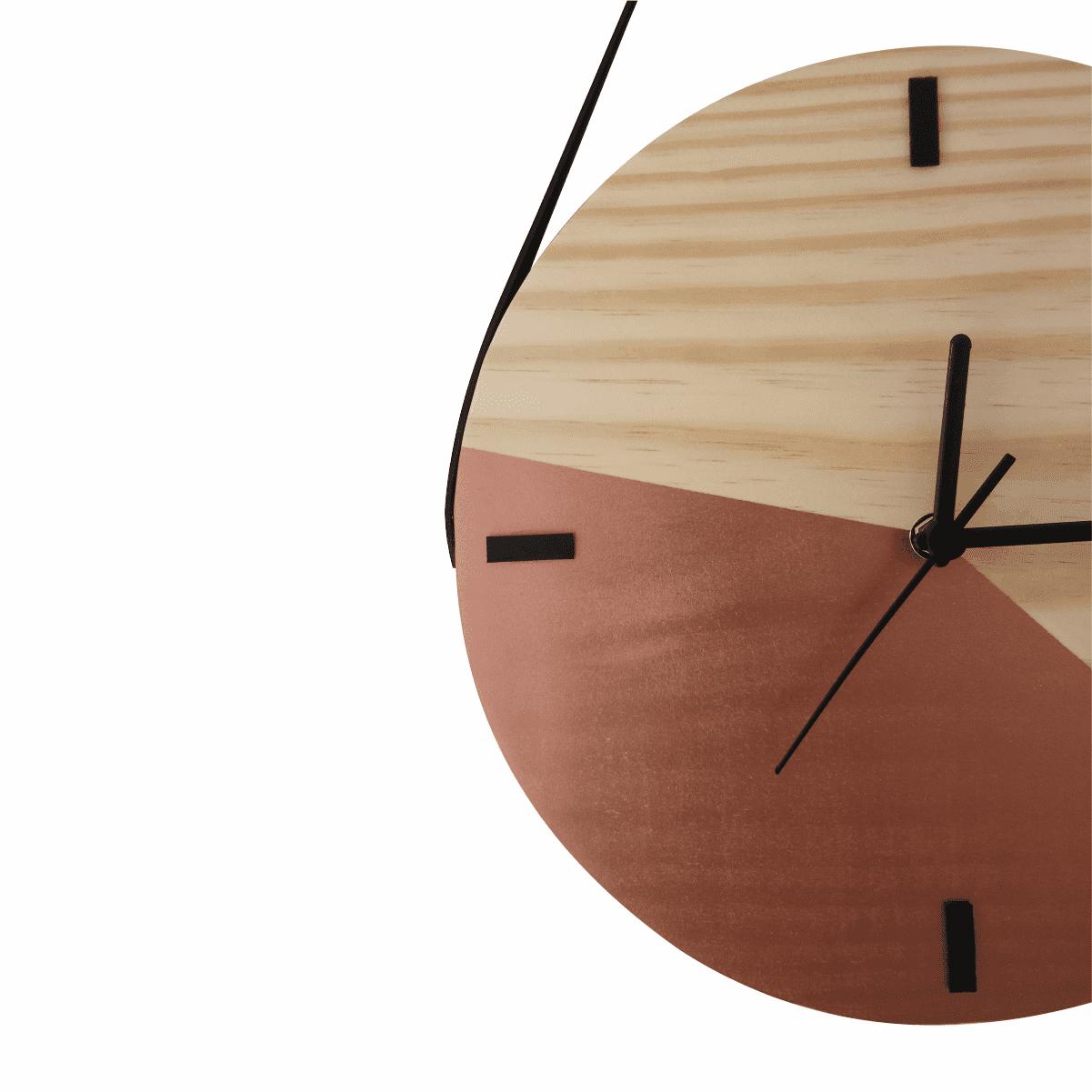 Relógio de Parede Escandinavo Duo Cobre com Alça 28cm