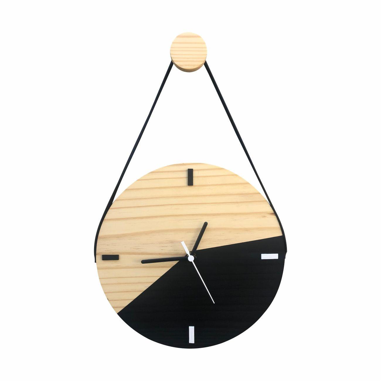 Relógio de Parede Escandinavo Duo Preto com Alça 28cm