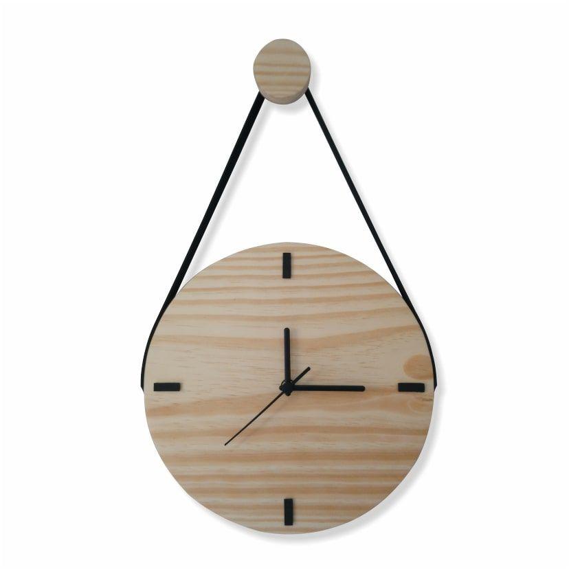 Relógio de Parede Escandinavo em Madeira Natural com Alça