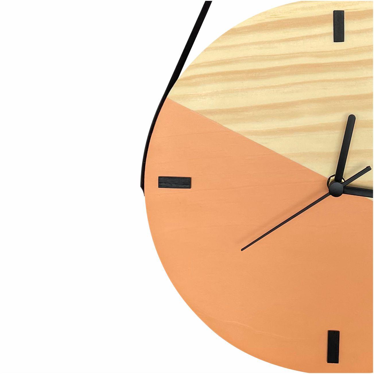Relógio de Parede Escandinavo em Madeira Vanila com Alça + Cabide Pendurador