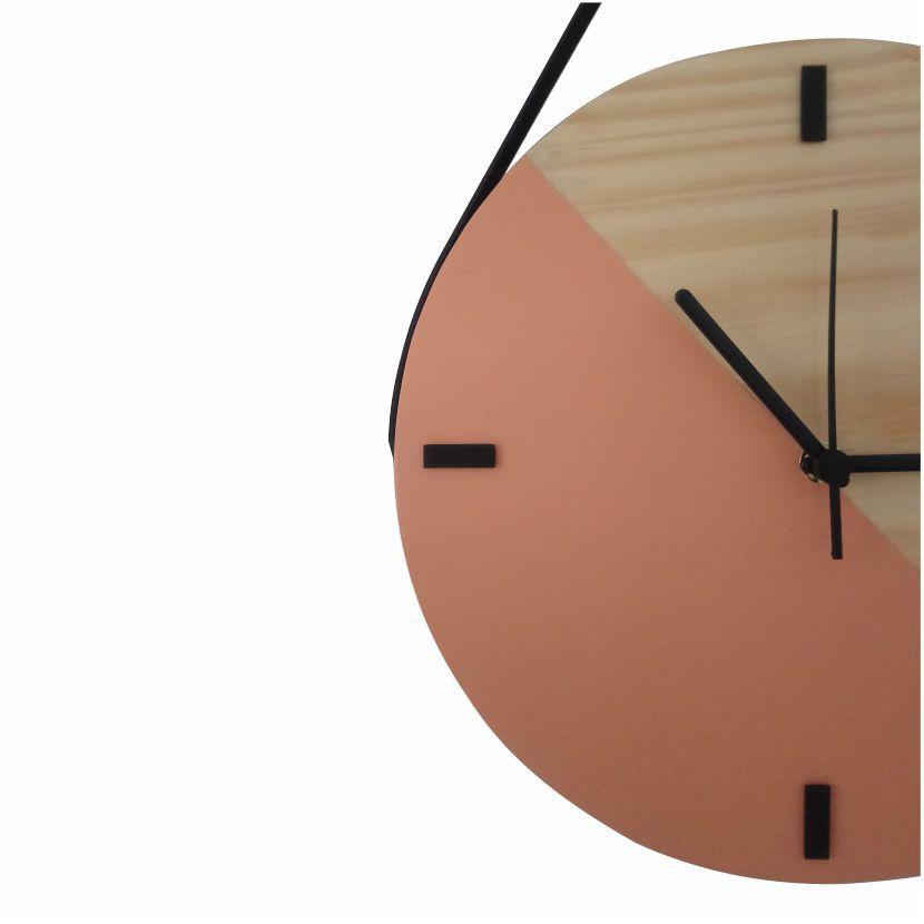 Relógio de Parede Escandinavo em Madeira Vanila com Alça