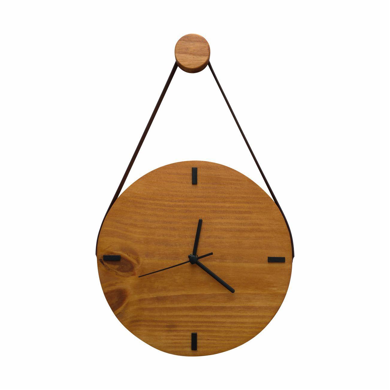 Relógio de Parede Escandinavo Rústico em Madeira com Alça