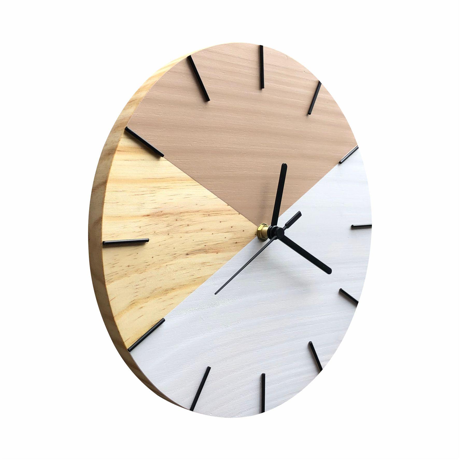 Relógio de Parede Geométrico Branco e Avelã 28cm