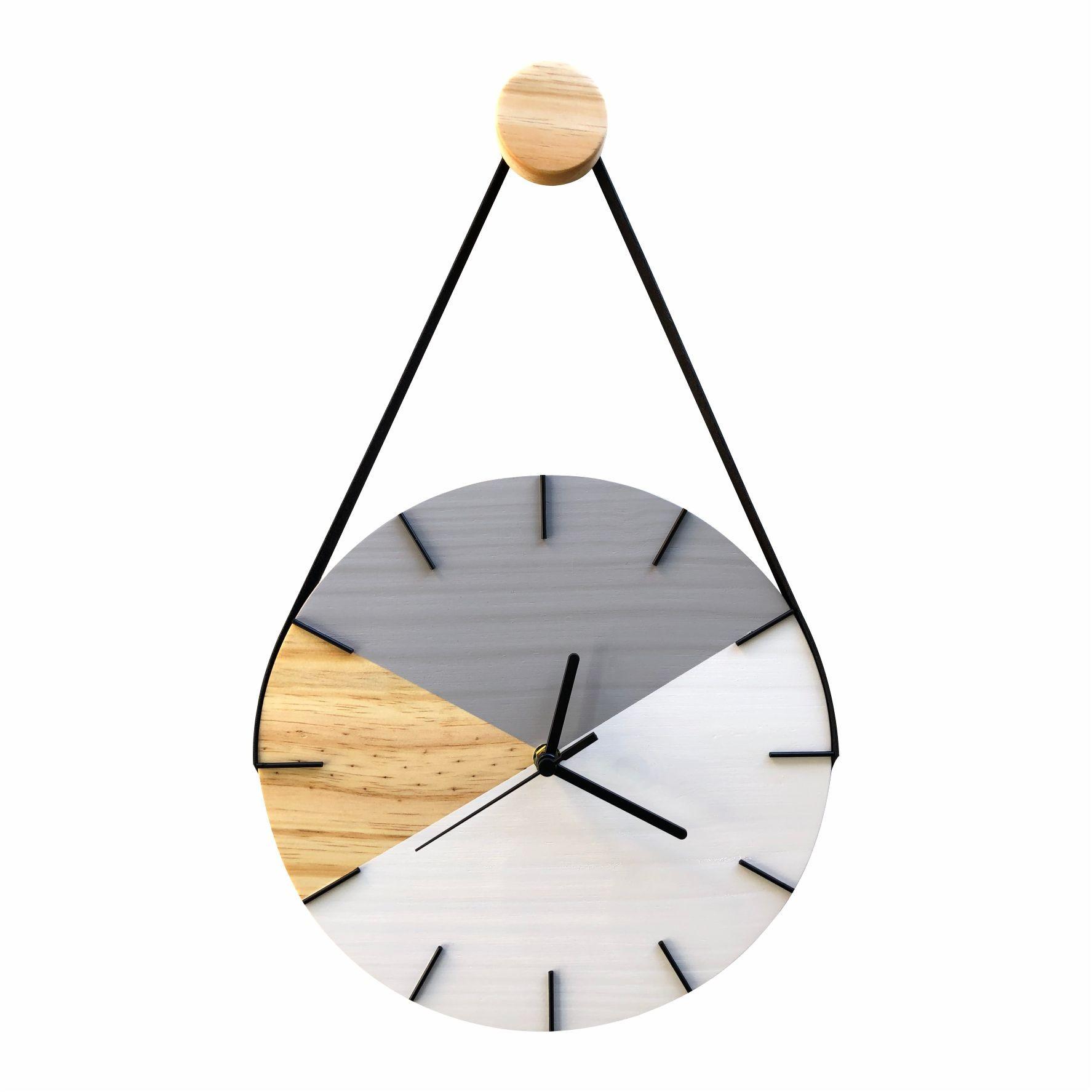 Relógio de Parede Geométrico Branco e Cinza Detalhes Preto com Alça