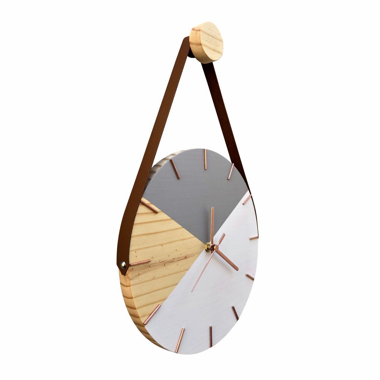 Relógio de Parede Geométrico Branco e Cinza Ponteiros Rosê com Alça