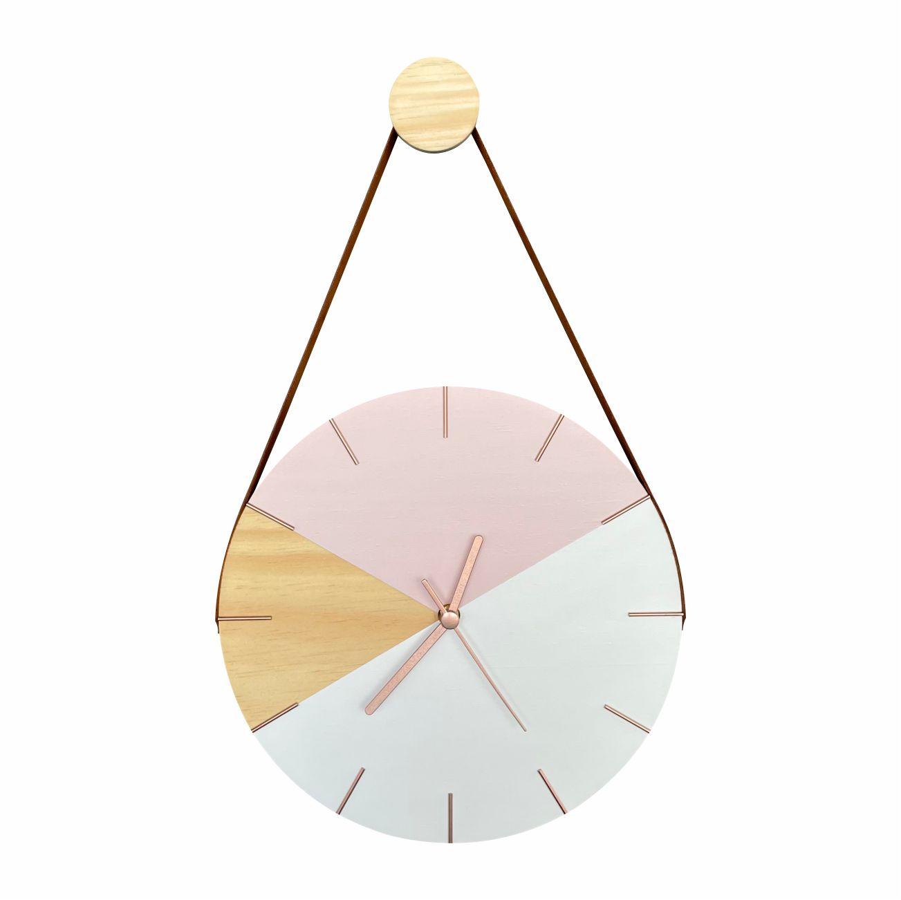 Relógio de Parede Geométrico Branco e Rosa com detalhes Rose Gold com Alça + Pendurador