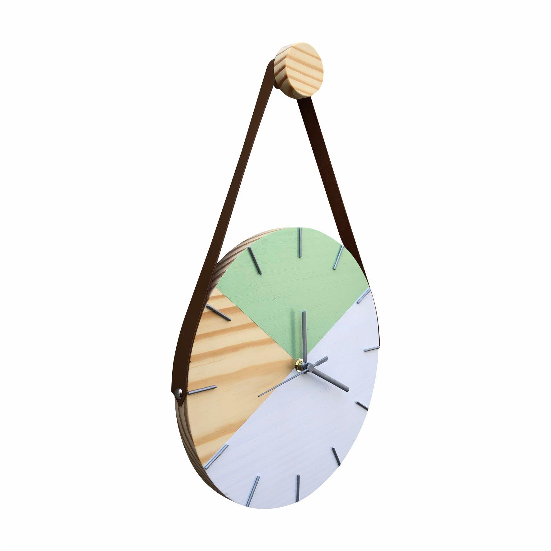 Relógio de Parede Geométrico Branco e Verde Dólar com Alça