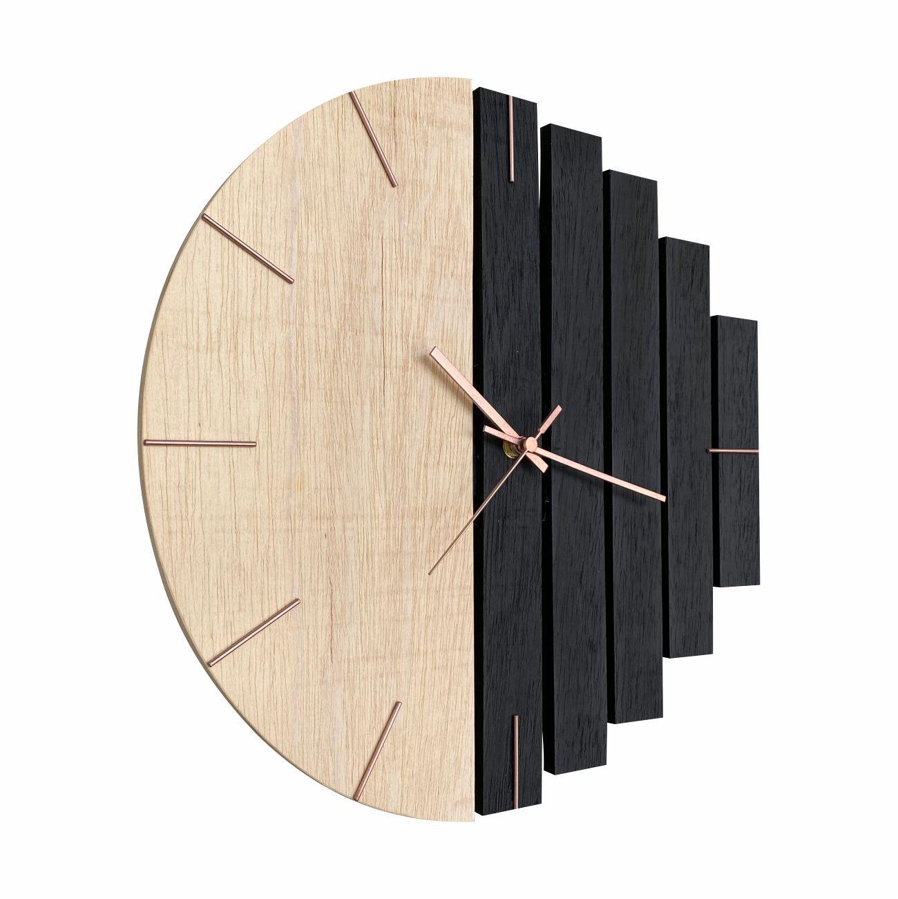 Relógio de Parede Industrial em Madeira e Preto 40cm