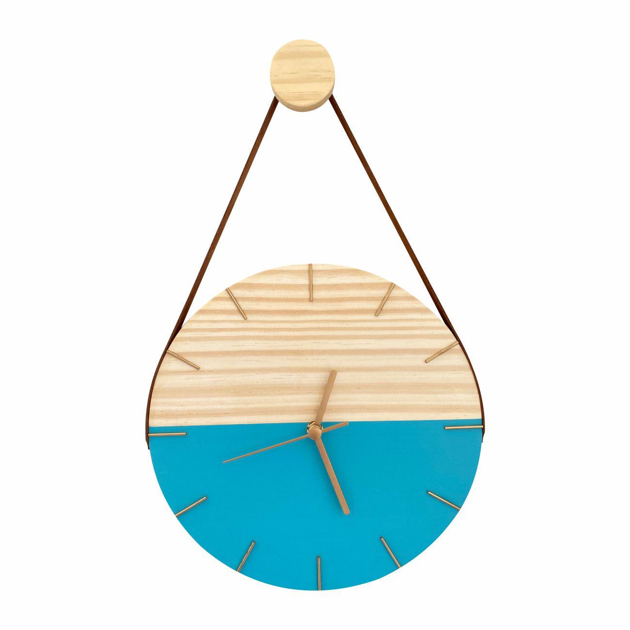 Relógio de Parede Minimalista Azul Tiffany com Alça Caramelo