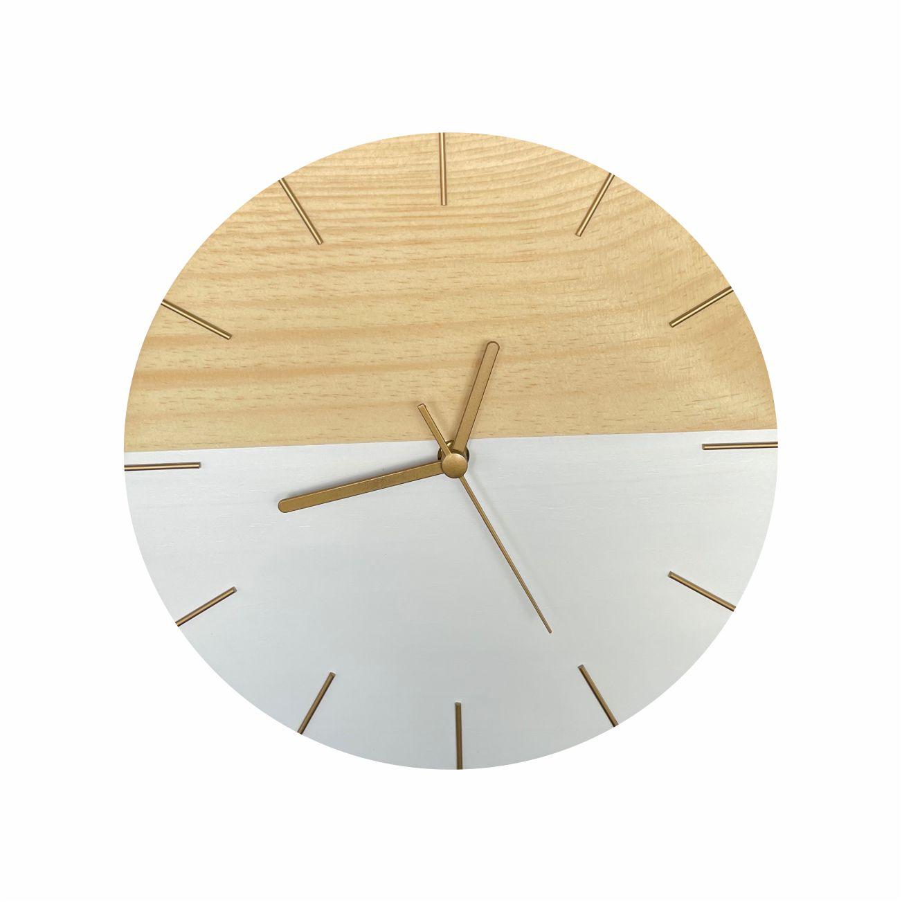 Relógio de Parede Minimalista Branco com Detalhes em Dourado 28cm