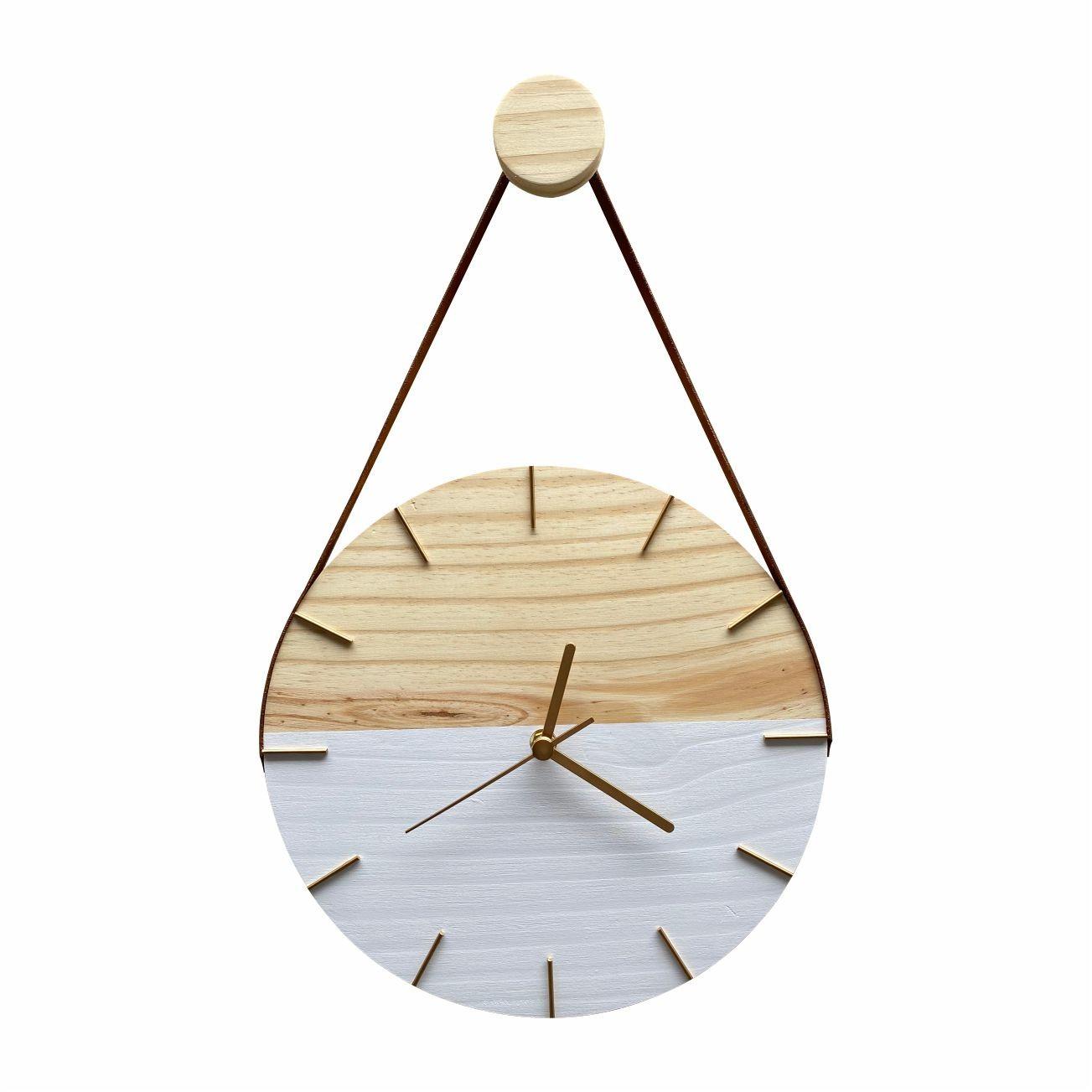 Relógio de Parede Minimalista Branco e Dourado com Alça Caramelo