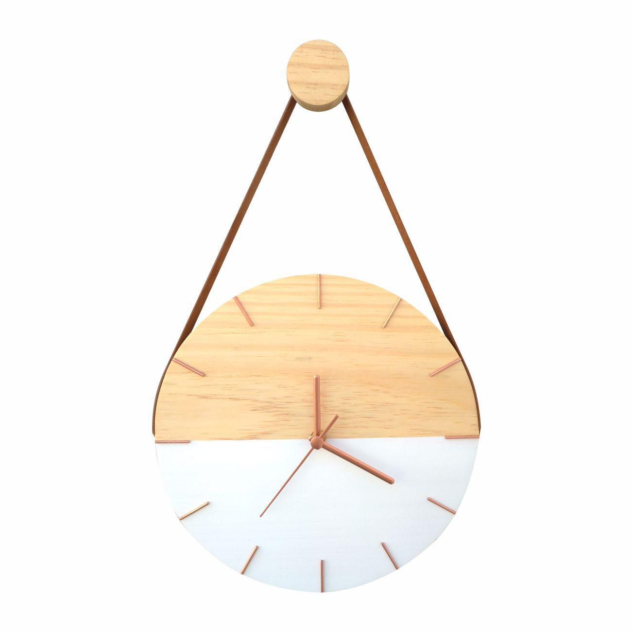 Relógio de Parede Minimalista Branco e Rosê com Alça Caramelo