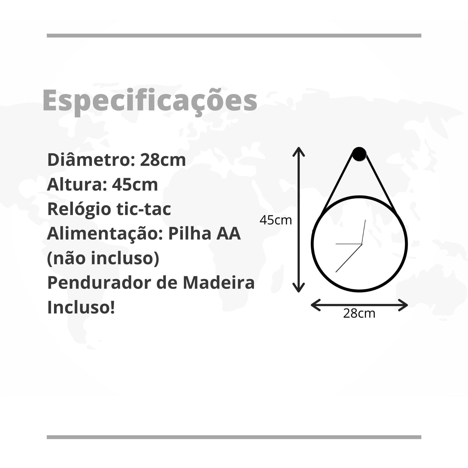 Relógio de Parede Minimalista de Madeira Natural com Alça 28cm