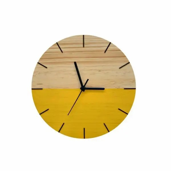 Relógio de Parede Minimalista em Madeira Amarelo 28cm