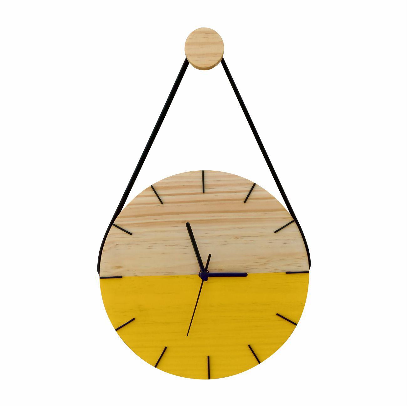 Relógio de Parede Minimalista em Madeira Amarelo com Alça