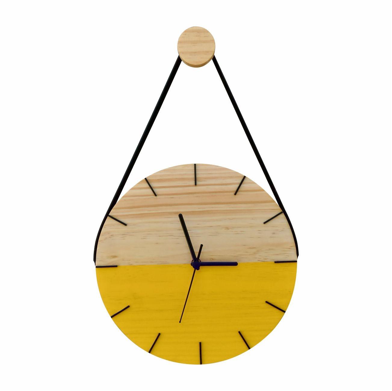 Relógio de Parede Minimalista em Madeira Amarelo com Alça + Pendurador