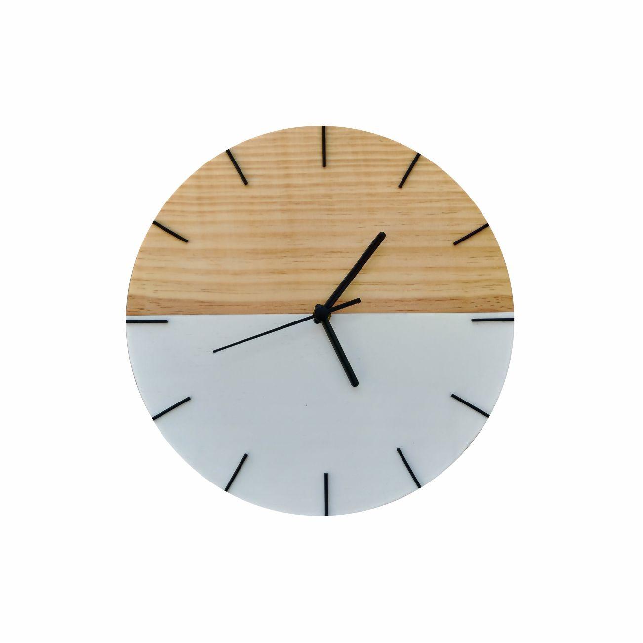 Relógio de Parede Minimalista em Madeira Branco 28cm