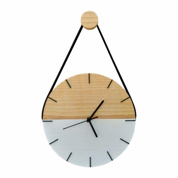 Relógio de Parede Minimalista em Madeira Branco com Alça