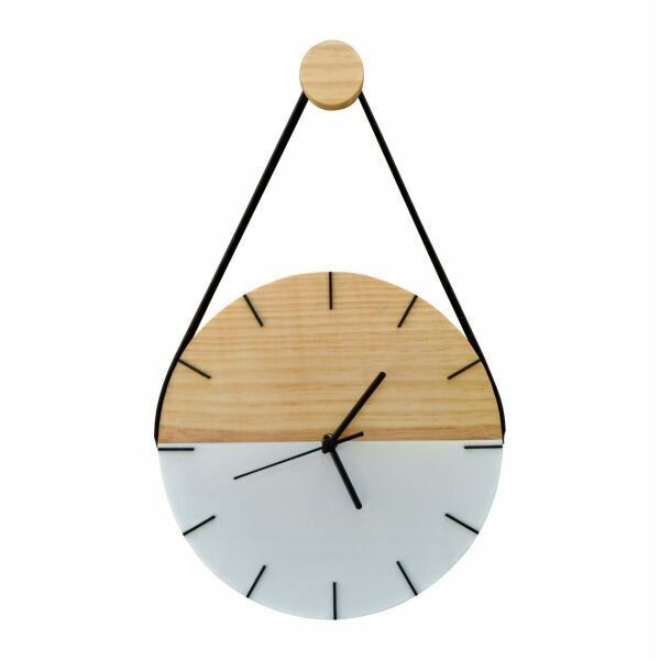 Relógio de Parede Minimalista em Madeira Branco e Detalhes em Preto com Alça + Pendurador