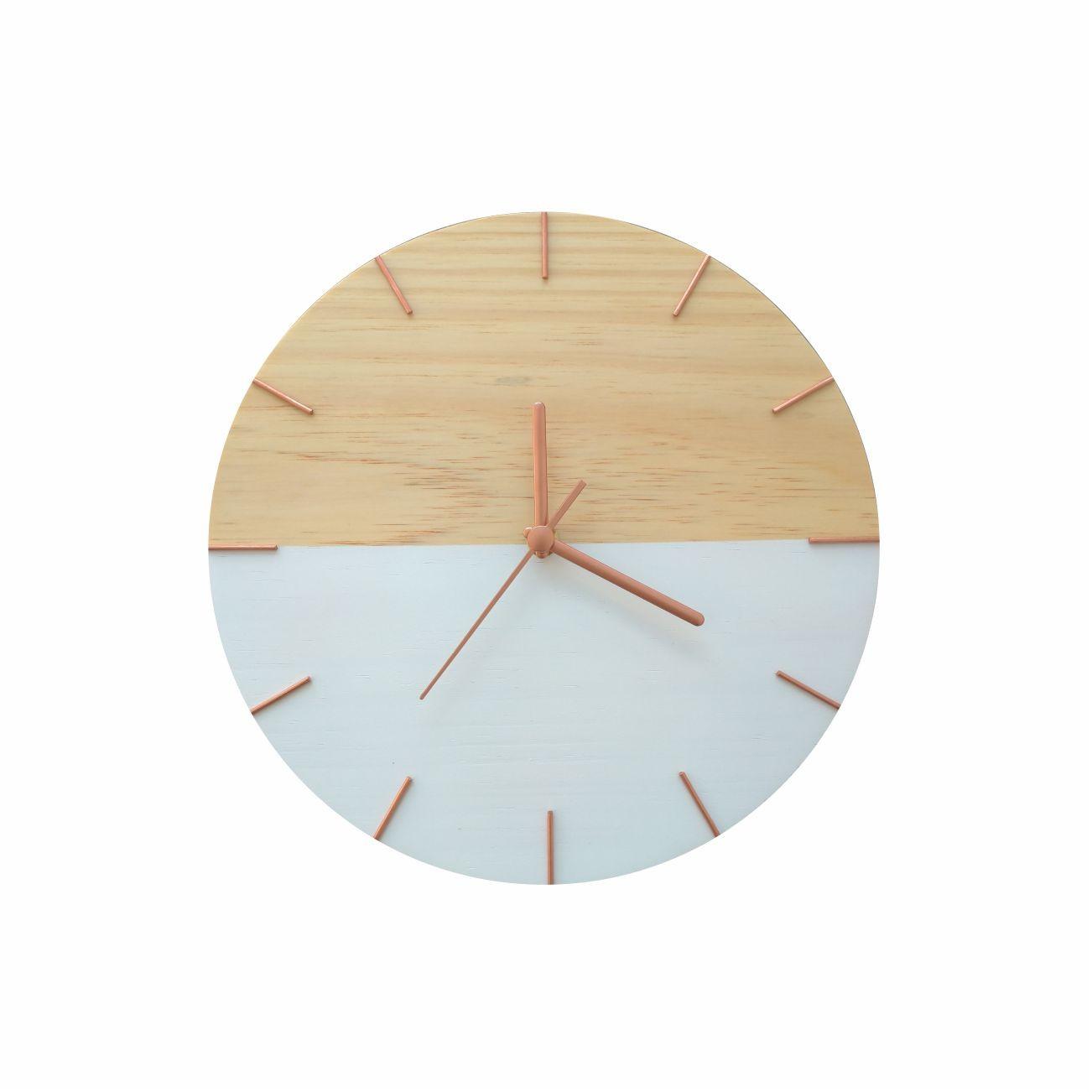 Relógio de Parede Minimalista em Madeira Branco e Rosê Gold 28cm