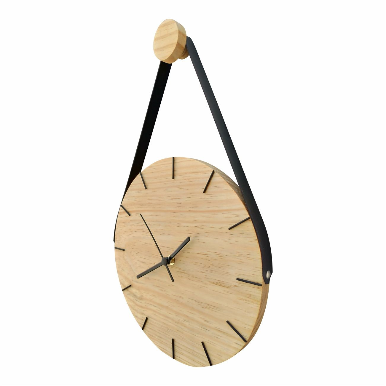 Relógio de Parede Minimalista em Madeira Natural com Alça