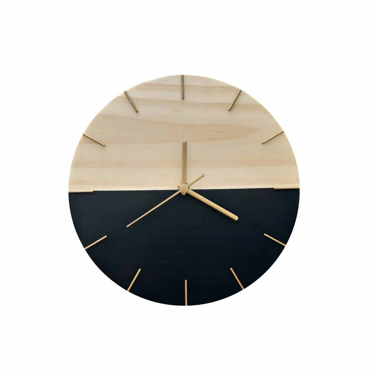 Relógio de Parede Minimalista em Madeira Preto e Dourado