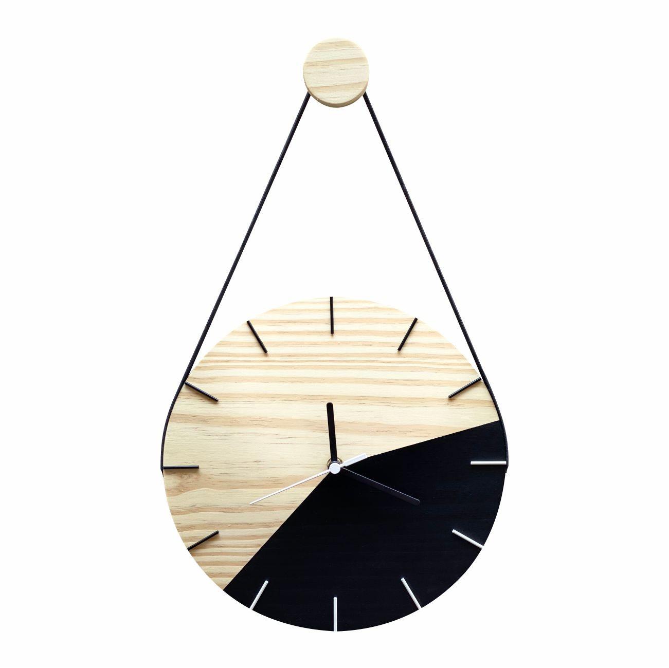 Relógio de Parede Minimalista Preto e Ponteiros Branco com Alça 28cm + Pendurador