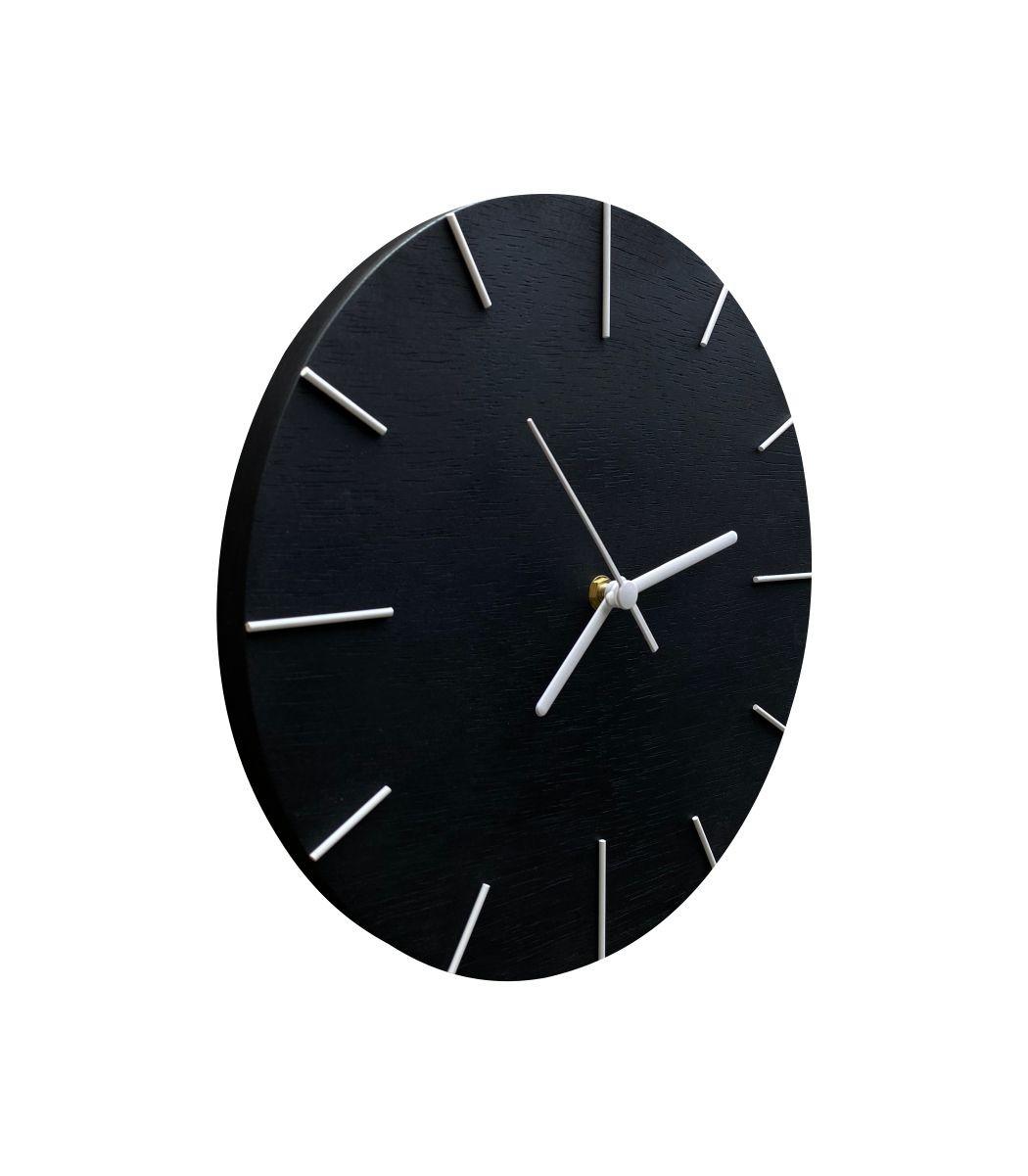 Relógio de Parede Preto com Ponteiros Branco 30cm
