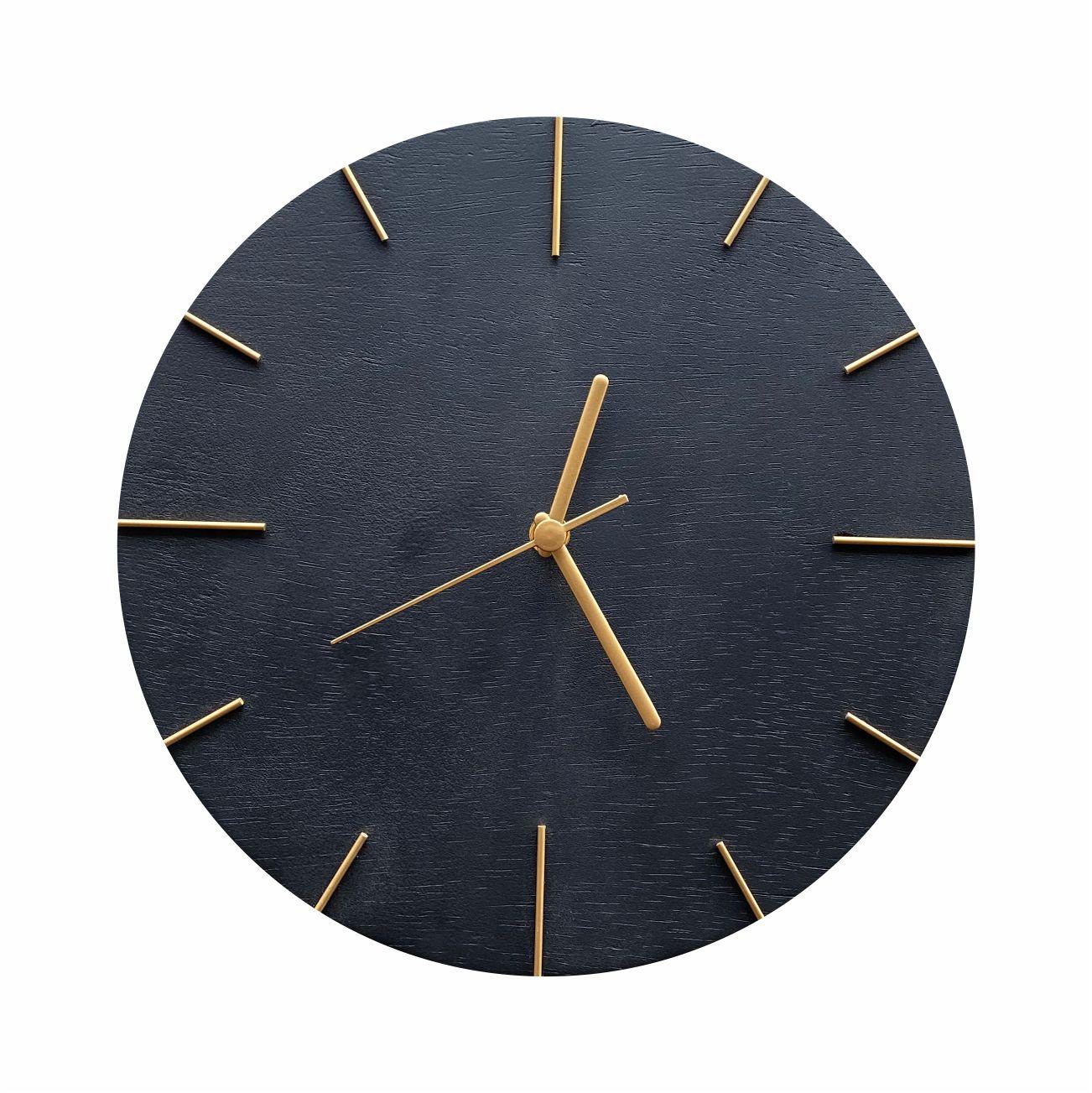 Relógio de Parede Preto com Ponteiros Dourado 30cm