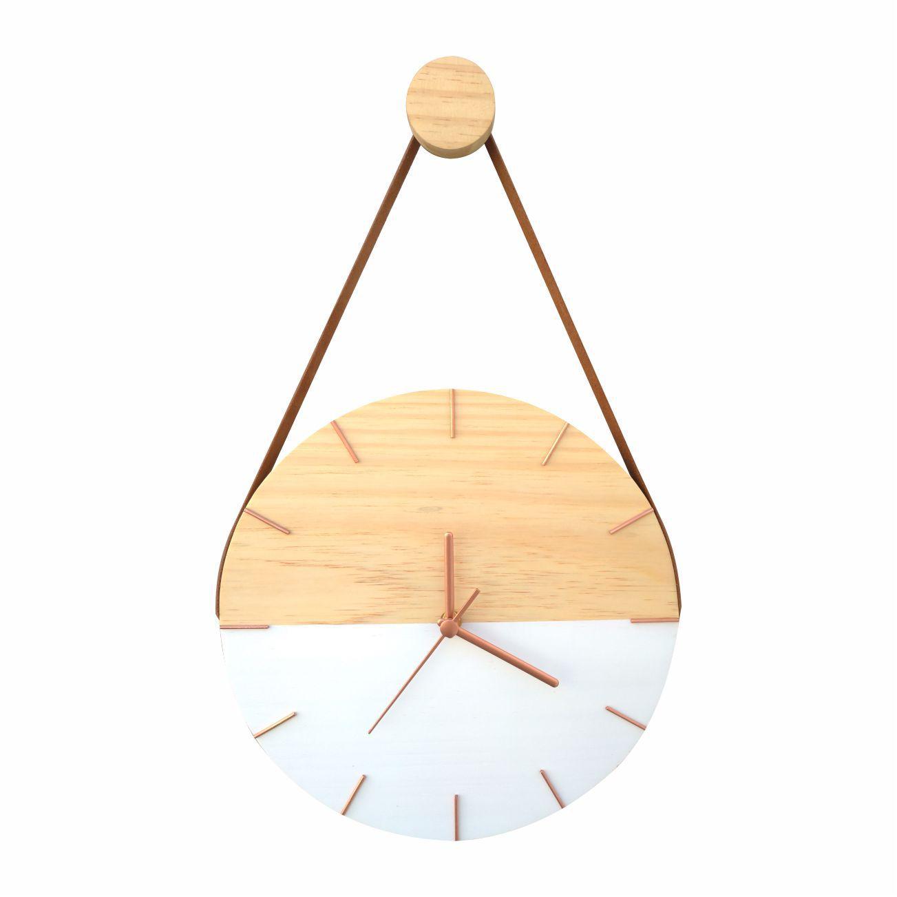 Relógio de Parede Minimalista Branco e Rosê Gold com Alça