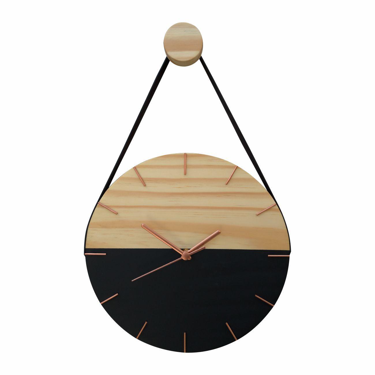 Relógio Minimalista de Madeira Preto e Rosê com Alça