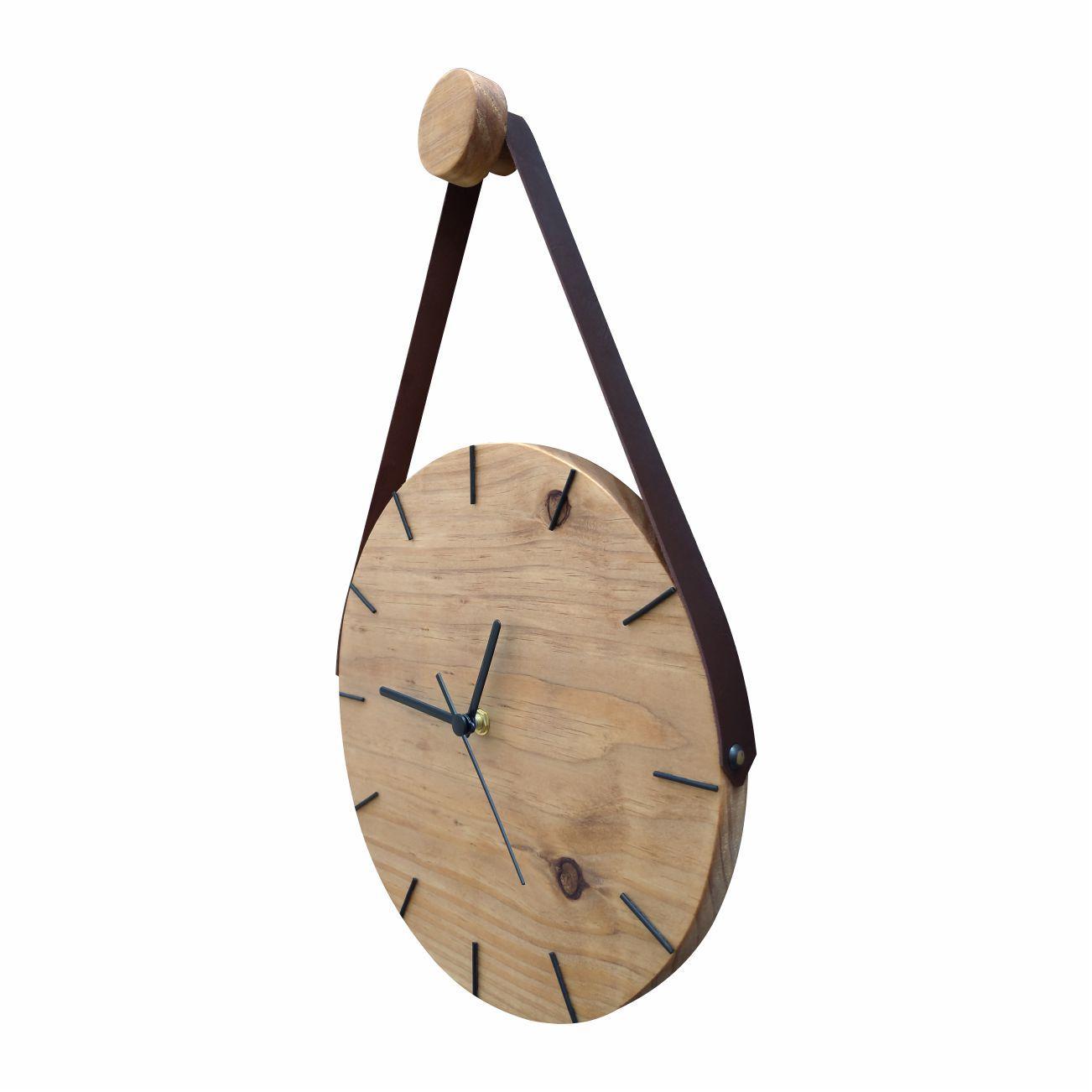 Relógio Minimalista de Madeira Rústico Imbuia com Alça