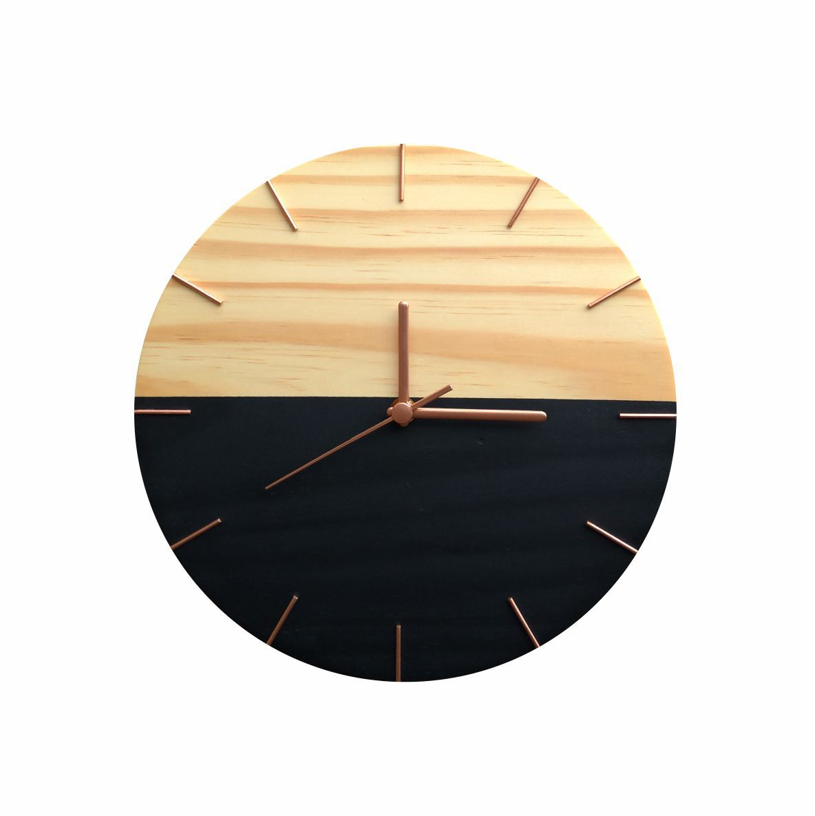 Relógio Minimalista Preto e Rosê