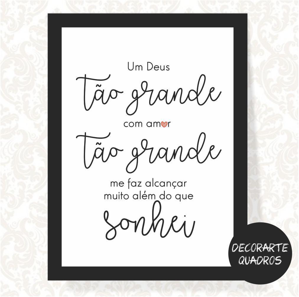 Um Deus tão GRANDE, com amor tão GRANDE, me faz alcançar muito além do que sonhei.