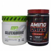 Amino Drive 200g Nutrex + Glutamine 300g Muscle Pharm + Coqueteleira WDD