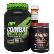 Amino Drive 200g Nutrex + Alpha Axcell 30 caps Power Supplements + Combat 100% Whey 2Lbs Muscle Pharm + Coqueteleira WDD