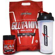 Kit Integralmedica Glutamine Isolates 1kg + BCAA 3900 100 tabs + Coqueteleira
