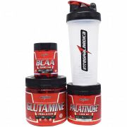Kit Integralmedica Glutamine Isolates 300g + Palatinose Low GI 300g + BCAA 3900 100 tabs + Coqueteleira