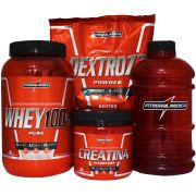 Kit Integralmedica Super Whey 100% Puro 907g + Creatina Hardcore 300g + Dextrozz Powder 1kg + Galão Integralmedica