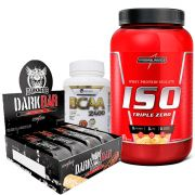 Kit  Iso Triple Zero 907g Integralmedica + Dark Bar cx c/ 8un de 90g IntegralMédica +BCAA 2400 300 caps Easy Nutri