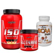 Kit  Iso Triple Zero 907g Integralmedica + Glutamine Isolates 300g Integralmédica + BCAA 2400 120 caps Easy Nutri