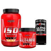 Kit  Iso Triple Zero 907g Integralmedica + Glutamine Isolates 300g Integralmédica + Ultra BCAA Elite Series Six Star 60 caps MuscleTech