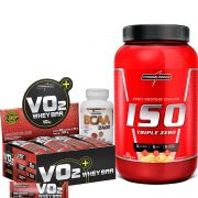 Kit  Iso Triple Zero 907g Integralmedica + VO2 Whey Bar cx/ c 24 unid de 30g IntegralMedica + BCAA 2400 120 caps Easy Nutri