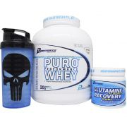 Kit Performance Puro Whey 2kg + Glutamine Recovery 300g + Coqueteleira WDD