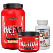 Kit Super Whey 100% Pure 907g Integralmedica + Creatina Hardcore 300g Integralmédica + BCAA 2400 120 caps Easy Nutri