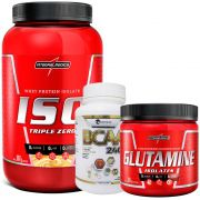 Kit Super Whey 100% Pure 907g Integralmedica + Glutamine Isolates 300g Integralmédica + BCAA 2400 300 caps Easy Nutri