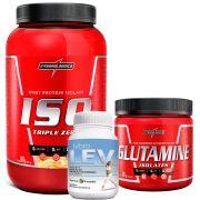 Kit Super Whey 100% Pure 907g Integralmedica + Glutamine Isolates 300g Integralmédica + Fybro Lev 60 caps Terra Verde